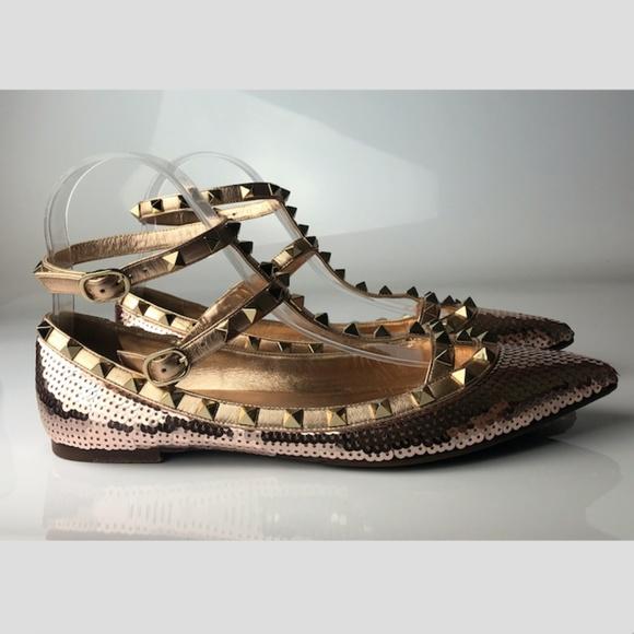 Valentino Garavani Rockstud Sequin Ballet Flats 38